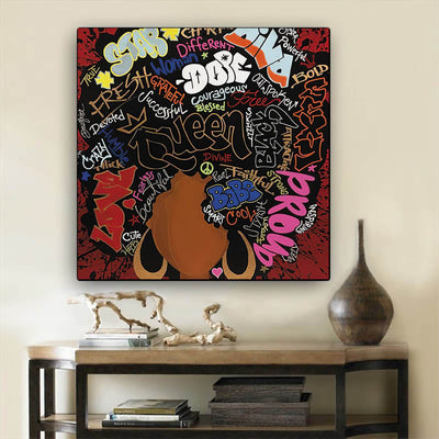 "BigProStore African Canvas Art Beautiful Afro American Girl African American Abstract Art Afrocentric Decor BPS16503 12"" x 12"" x 0.75"" Square Canvas"