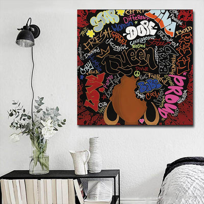 "BigProStore African Canvas Art Beautiful Afro American Girl African American Abstract Art Afrocentric Decor BPS16503 16"" x 16"" x 0.75"" Square Canvas"