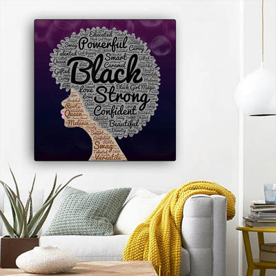 "BigProStore African Canvas Art Beautiful Afro American Woman African Canvas Wall Art Afrocentric Living Room Ideas BPS15948 12"" x 12"" x 0.75"" Square Canvas"