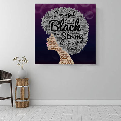 "BigProStore African Canvas Art Beautiful Afro American Woman African Canvas Wall Art Afrocentric Living Room Ideas BPS15948 16"" x 16"" x 0.75"" Square Canvas"