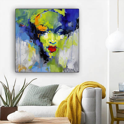 "BigProStore African Canvas Art Beautiful Afro American Woman Afro American Art Afrocentric Home Decor BPS74823 12"" x 12"" x 0.75"" Square Canvas"