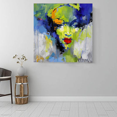"BigProStore African Canvas Art Beautiful Afro American Woman Afro American Art Afrocentric Home Decor BPS74823 16"" x 16"" x 0.75"" Square Canvas"