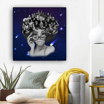 "BigProStore African Canvas Art Beautiful Afro Girl Framed African Wall Art Afrocentric Home Decor Ideas BPS68550 12"" x 12"" x 0.75"" Square Canvas"