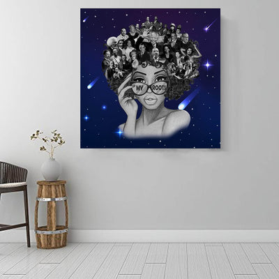 "BigProStore African Canvas Art Beautiful Afro Girl Framed African Wall Art Afrocentric Home Decor Ideas BPS68550 16"" x 16"" x 0.75"" Square Canvas"