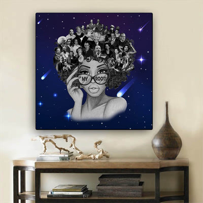 "BigProStore African Canvas Art Beautiful Afro Girl Framed African Wall Art Afrocentric Home Decor Ideas BPS68550 24"" x 24"" x 0.75"" Square Canvas"