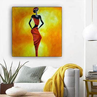 "BigProStore African Canvas Art Beautiful Black Afro Girls African American Abstract Art Afrocentric Wall Decor BPS66556 12"" x 12"" x 0.75"" Square Canvas"