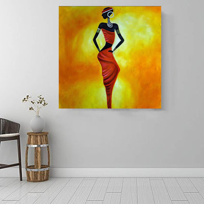"BigProStore African Canvas Art Beautiful Black Afro Girls African American Abstract Art Afrocentric Wall Decor BPS66556 16"" x 16"" x 0.75"" Square Canvas"