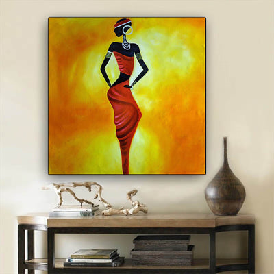 "BigProStore African Canvas Art Beautiful Black Afro Girls African American Abstract Art Afrocentric Wall Decor BPS66556 24"" x 24"" x 0.75"" Square Canvas"