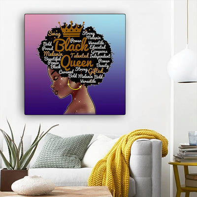 "BigProStore African Canvas Art Beautiful Black American Woman African American Prints Afrocentric Home Decor Ideas BPS67895 12"" x 12"" x 0.75"" Square Canvas"
