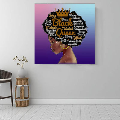 "BigProStore African Canvas Art Beautiful Black American Woman African American Prints Afrocentric Home Decor Ideas BPS67895 16"" x 16"" x 0.75"" Square Canvas"