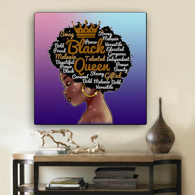 "BigProStore African Canvas Art Beautiful Black American Woman African American Prints Afrocentric Home Decor Ideas BPS67895 24"" x 24"" x 0.75"" Square Canvas"