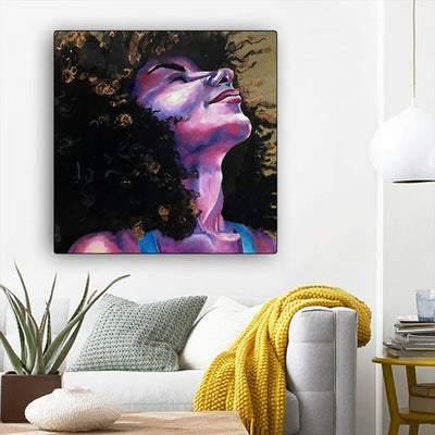 "BigProStore African Canvas Art Beautiful Girl With Afro Abstract African Wall Art Afrocentric Home Decor BPS67215 12"" x 12"" x 0.75"" Square Canvas"