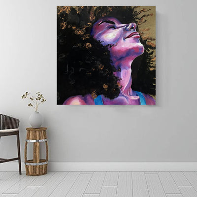 "BigProStore African Canvas Art Beautiful Girl With Afro Abstract African Wall Art Afrocentric Home Decor BPS67215 16"" x 16"" x 0.75"" Square Canvas"