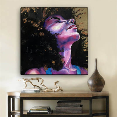 "BigProStore African Canvas Art Beautiful Girl With Afro Abstract African Wall Art Afrocentric Home Decor BPS67215 24"" x 24"" x 0.75"" Square Canvas"