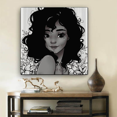 "BigProStore African Canvas Art Beautiful Girl With Afro African American Art Prints Afrocentric Home Decor BPS18270 12"" x 12"" x 0.75"" Square Canvas"