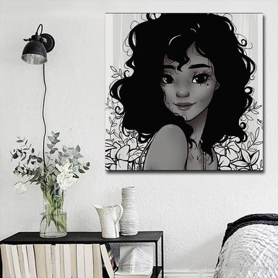 "BigProStore African Canvas Art Beautiful Girl With Afro African American Art Prints Afrocentric Home Decor BPS18270 16"" x 16"" x 0.75"" Square Canvas"