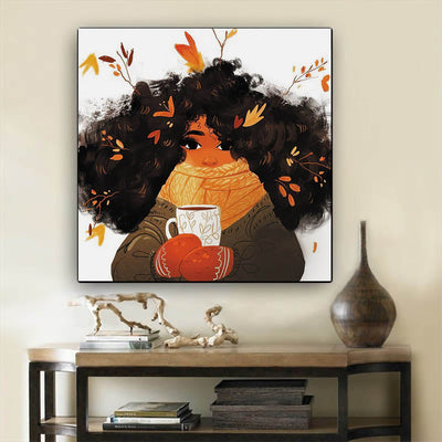 "BigProStore African Canvas Art Beautiful Melanin Poppin Girl Abstract African Wall Art Afrocentric Home Decor Ideas BPS68479 12"" x 12"" x 0.75"" Square Canvas"