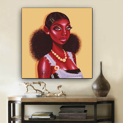 "BigProStore African Canvas Art Cute African American Female African American Framed Art Afrocentric Wall Decor BPS29739 12"" x 12"" x 0.75"" Square Canvas"