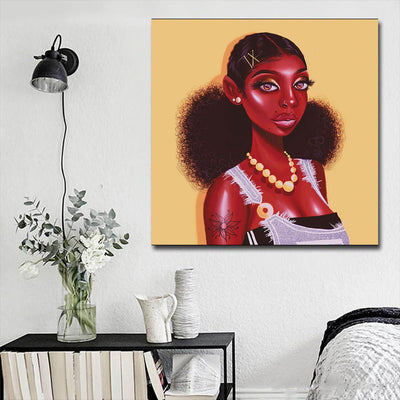 "BigProStore African Canvas Art Cute African American Female African American Framed Art Afrocentric Wall Decor BPS29739 16"" x 16"" x 0.75"" Square Canvas"