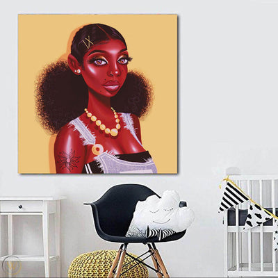 "BigProStore African Canvas Art Cute African American Female African American Framed Art Afrocentric Wall Decor BPS29739 24"" x 24"" x 0.75"" Square Canvas"