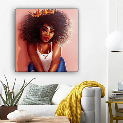 "BigProStore African Canvas Art Cute African American Girl African Canvas Afrocentric Decor BPS43120 12"" x 12"" x 0.75"" Square Canvas"