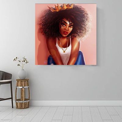"BigProStore African Canvas Art Cute African American Girl African Canvas Afrocentric Decor BPS43120 16"" x 16"" x 0.75"" Square Canvas"