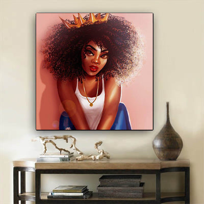 "BigProStore African Canvas Art Cute African American Girl African Canvas Afrocentric Decor BPS43120 24"" x 24"" x 0.75"" Square Canvas"