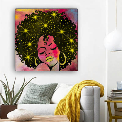 "BigProStore African Canvas Art Cute Afro American Girl African American Wall Art And Decor Afrocentric Living Room Ideas BPS83863 12"" x 12"" x 0.75"" Square Canvas"