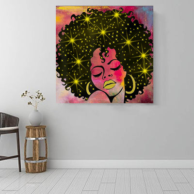 "BigProStore African Canvas Art Cute Afro American Girl African American Wall Art And Decor Afrocentric Living Room Ideas BPS83863 16"" x 16"" x 0.75"" Square Canvas"
