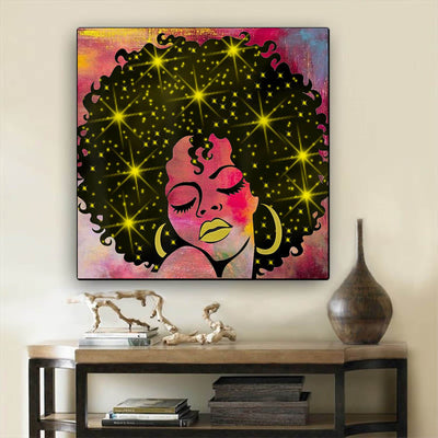 "BigProStore African Canvas Art Cute Afro American Girl African American Wall Art And Decor Afrocentric Living Room Ideas BPS83863 24"" x 24"" x 0.75"" Square Canvas"