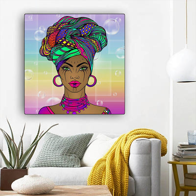 "BigProStore African Canvas Art Cute Afro American Girl Afro American Art Afrocentric Living Room Ideas BPS65729 12"" x 12"" x 0.75"" Square Canvas"