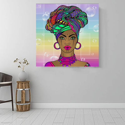 "BigProStore African Canvas Art Cute Afro American Girl Afro American Art Afrocentric Living Room Ideas BPS65729 16"" x 16"" x 0.75"" Square Canvas"