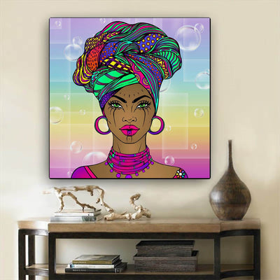 "BigProStore African Canvas Art Cute Afro American Girl Afro American Art Afrocentric Living Room Ideas BPS65729 24"" x 24"" x 0.75"" Square Canvas"