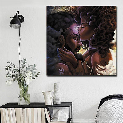 "BigProStore African Canvas Art Cute Afro Girl African American Wall Art And Decor Afrocentric Home Decor Ideas BPS27904 16"" x 16"" x 0.75"" Square Canvas"