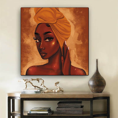"BigProStore African Canvas Art Cute Black American Girl African American Prints Afrocentric Wall Decor BPS10835 12"" x 12"" x 0.75"" Square Canvas"