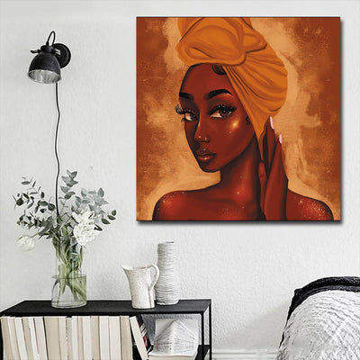 "BigProStore African Canvas Art Cute Black American Girl African American Prints Afrocentric Wall Decor BPS10835 16"" x 16"" x 0.75"" Square Canvas"
