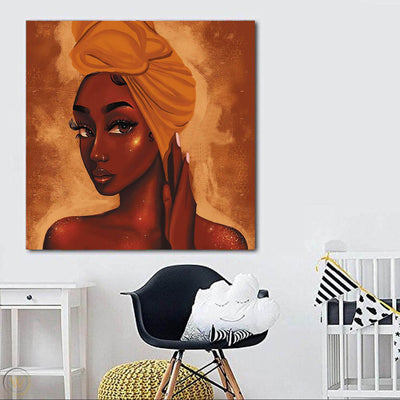 "BigProStore African Canvas Art Cute Black American Girl African American Prints Afrocentric Wall Decor BPS10835 24"" x 24"" x 0.75"" Square Canvas"