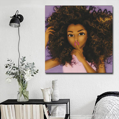 "BigProStore African Canvas Art Cute Girl With Afro African American Prints Afrocentric Home Decor Ideas BPS95671 16"" x 16"" x 0.75"" Square Canvas"