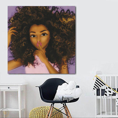 "BigProStore African Canvas Art Cute Girl With Afro African American Prints Afrocentric Home Decor Ideas BPS95671 24"" x 24"" x 0.75"" Square Canvas"