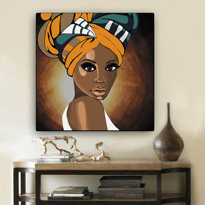 "BigProStore African Canvas Art Cute Girl With Afro African American Women Art Afrocentric Decorating Ideas BPS78760 12"" x 12"" x 0.75"" Square Canvas"