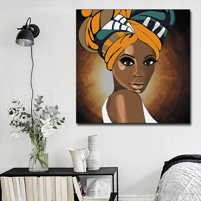 "BigProStore African Canvas Art Cute Girl With Afro African American Women Art Afrocentric Decorating Ideas BPS78760 16"" x 16"" x 0.75"" Square Canvas"