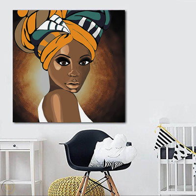 "BigProStore African Canvas Art Cute Girl With Afro African American Women Art Afrocentric Decorating Ideas BPS78760 24"" x 24"" x 0.75"" Square Canvas"