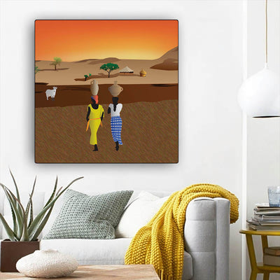 "BigProStore African Canvas Art Cute Melanin Girl African American Framed Art Afrocentric Decorating Ideas BPS45475 12"" x 12"" x 0.75"" Square Canvas"