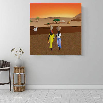 "BigProStore African Canvas Art Cute Melanin Girl African American Framed Art Afrocentric Decorating Ideas BPS45475 16"" x 16"" x 0.75"" Square Canvas"