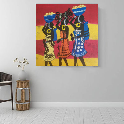 "BigProStore African Canvas Art Pretty African American Girl African American Framed Art Afrocentric Home Decor Ideas BPS51476 16"" x 16"" x 0.75"" Square Canvas"