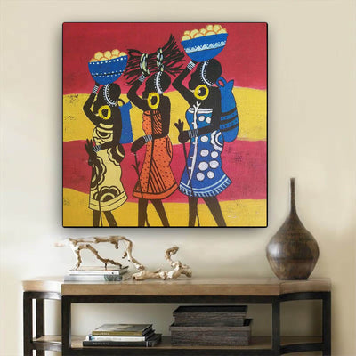 "BigProStore African Canvas Art Pretty African American Girl African American Framed Art Afrocentric Home Decor Ideas BPS51476 24"" x 24"" x 0.75"" Square Canvas"