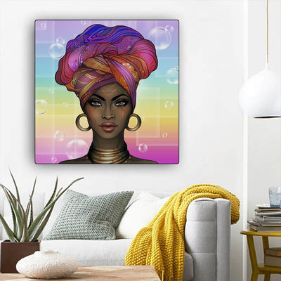 "BigProStore African Canvas Art Pretty African American Girl African Canvas Afrocentric Wall Decor BPS77041 12"" x 12"" x 0.75"" Square Canvas"