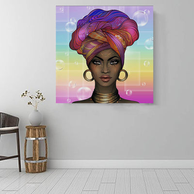 "BigProStore African Canvas Art Pretty African American Girl African Canvas Afrocentric Wall Decor BPS77041 16"" x 16"" x 0.75"" Square Canvas"