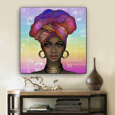 "BigProStore African Canvas Art Pretty African American Girl African Canvas Afrocentric Wall Decor BPS77041 24"" x 24"" x 0.75"" Square Canvas"