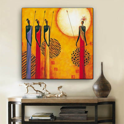 "BigProStore African Canvas Art Pretty Black Afro Girls African American Women Art Afrocentric Home Decor Ideas BPS14518 24"" x 24"" x 0.75"" Square Canvas"